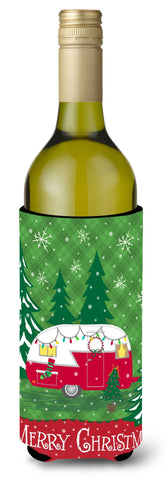 Buy this Christmas Vintage Glamping Trailer Wine Bottle Beverage Insulator Hugger VHA3018LITERK