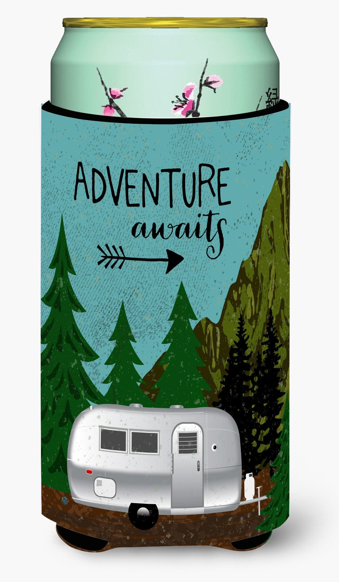 Airstream Camper Adventure Awaits Tall Boy Beverage Insulator Hugger VHA3022TBC by Caroline's Treasures