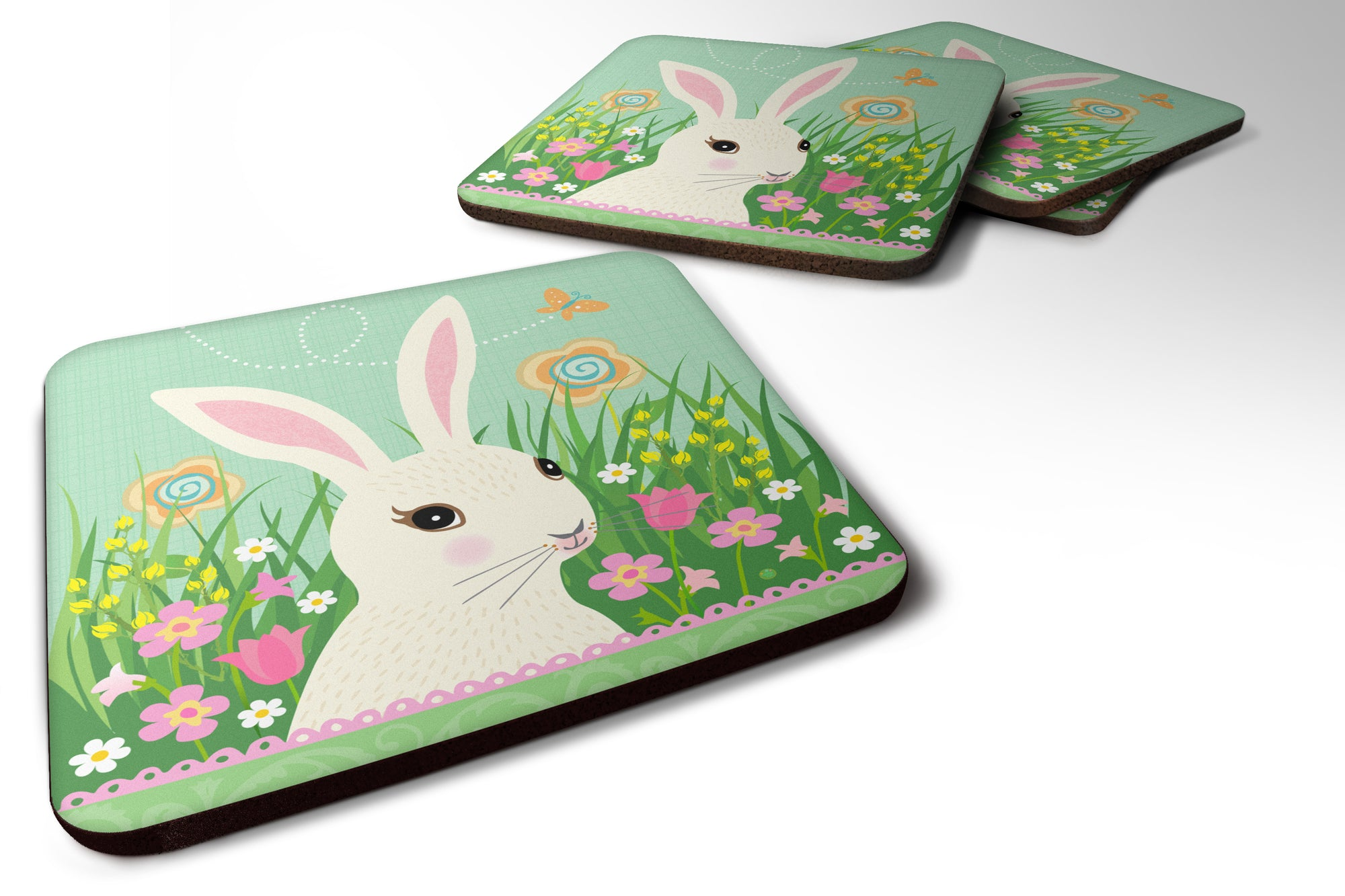 Buy this Set of 4 Easter Bunny Rabbit Foam Coasters Set of 4
