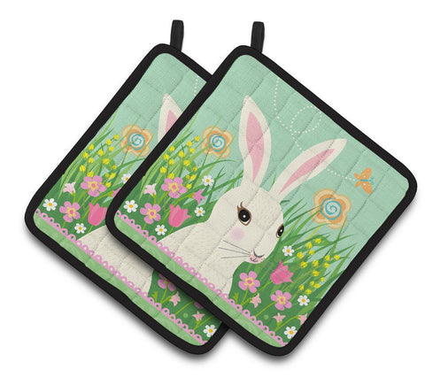 Buy this Easter Bunny Rabbit Pair of Pot Holders VHA3023PTHD