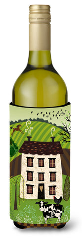 Buy this Folk Art Country House Wine Bottle Beverge Insulator Hugger VHA3024LITERK