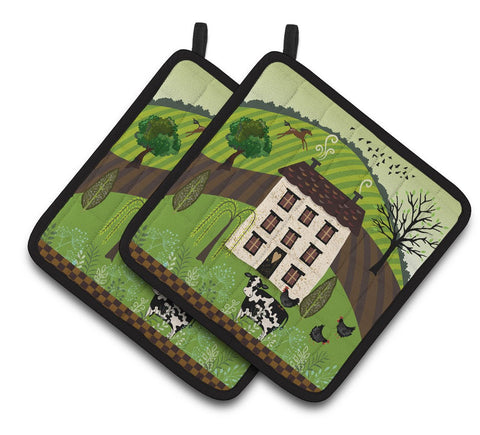 Buy this Folk Art Country House Pair of Pot Holders VHA3024PTHD