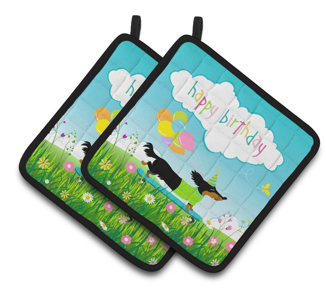 Buy this Happy Birthday Dachshund Pair of Pot Holders VHA3029PTHD