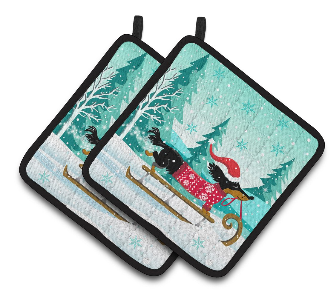 Buy this Merry Christmas Dachshund Pair of Pot Holders VHA3030PTHD