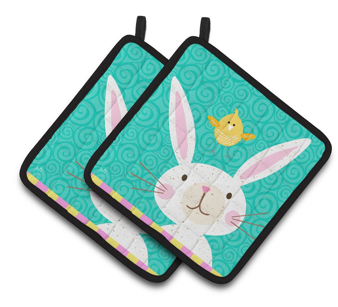 Happy Easter Rabbit Pair of Pot Holders VHA3032PTHD by Caroline's Treasures