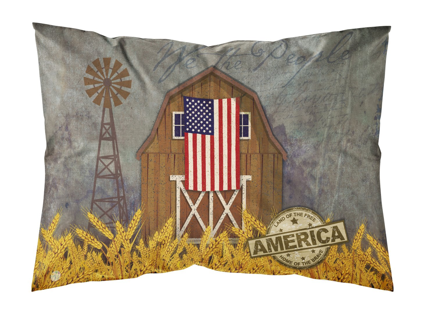 Buy this Patriotic Barn Land of America Fabric Standard Pillowcase VHA3036PILLOWCASE