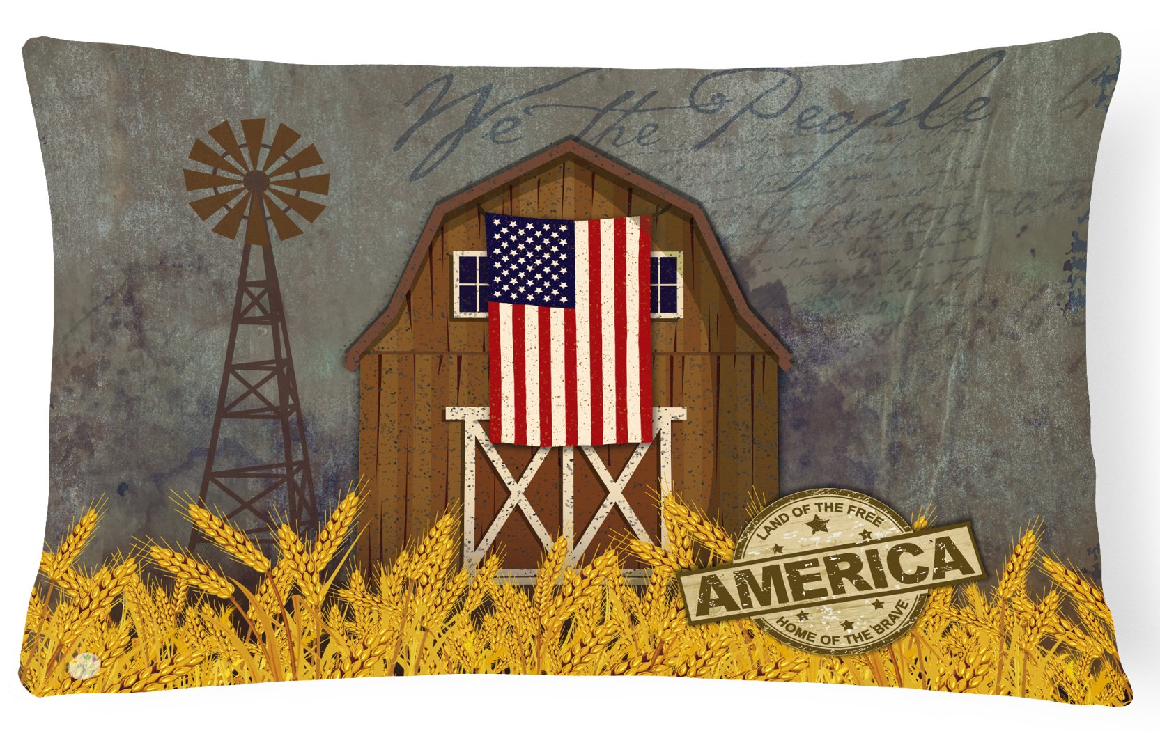 Buy this Patriotic Barn Land of America Canvas Fabric Decorative Pillow VHA3036PW1216