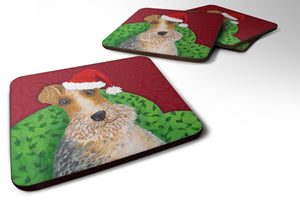 Buy this Wire Fox Terrier Christmas Foam Coaster Set of 4 VHA3040FC