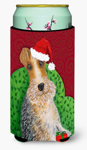 Buy this Wire Fox Terrier Christmas Tall Boy Beverage Insulator Hugger VHA3040TBC