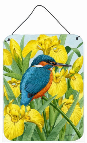 Buy this Kingfisher in Yellow Irises Wall or Door Hanging Prints ASA2009DS1216