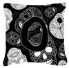 Buy this Letter O Day of the Dead Skulls Black Canvas Fabric Decorative Pillow CJ2008-OPW1414