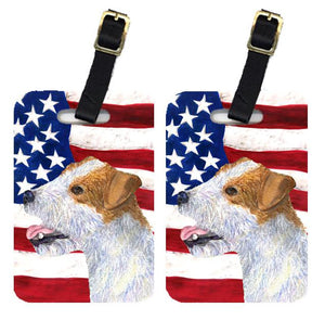 Buy this Pair of USA American Flag with Jack Russell Terrier Luggage Tags SS4031BT