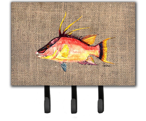 Buy this Hog Snapper on Faux Burlap Leash or Key Holder 8753TH68