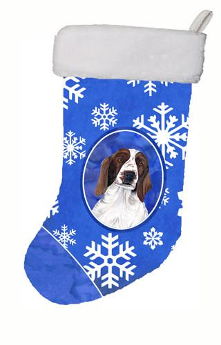 Buy this Welsh Springer Spaniel Winter Snowflakes Christmas Stocking SC9380