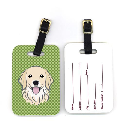 Buy this Pair of Green Checkered Golden Retriever Luggage Tags BB1137BT