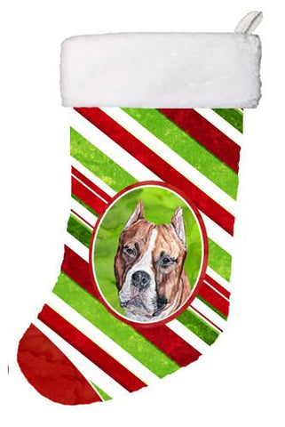 Buy this Staffordshire Bull Terrier Staffie Candy Cane Christmas Christmas Stocking SC9800-CS