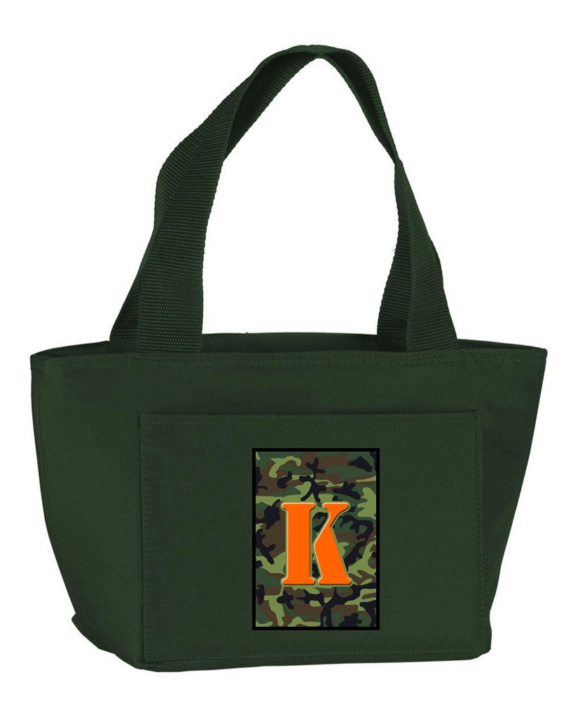 Buy this Letter K Monogram - Camo Green Zippered Insulated School Washable and Stylish Lunch Bag Cooler CJ1030-K-GN-8808