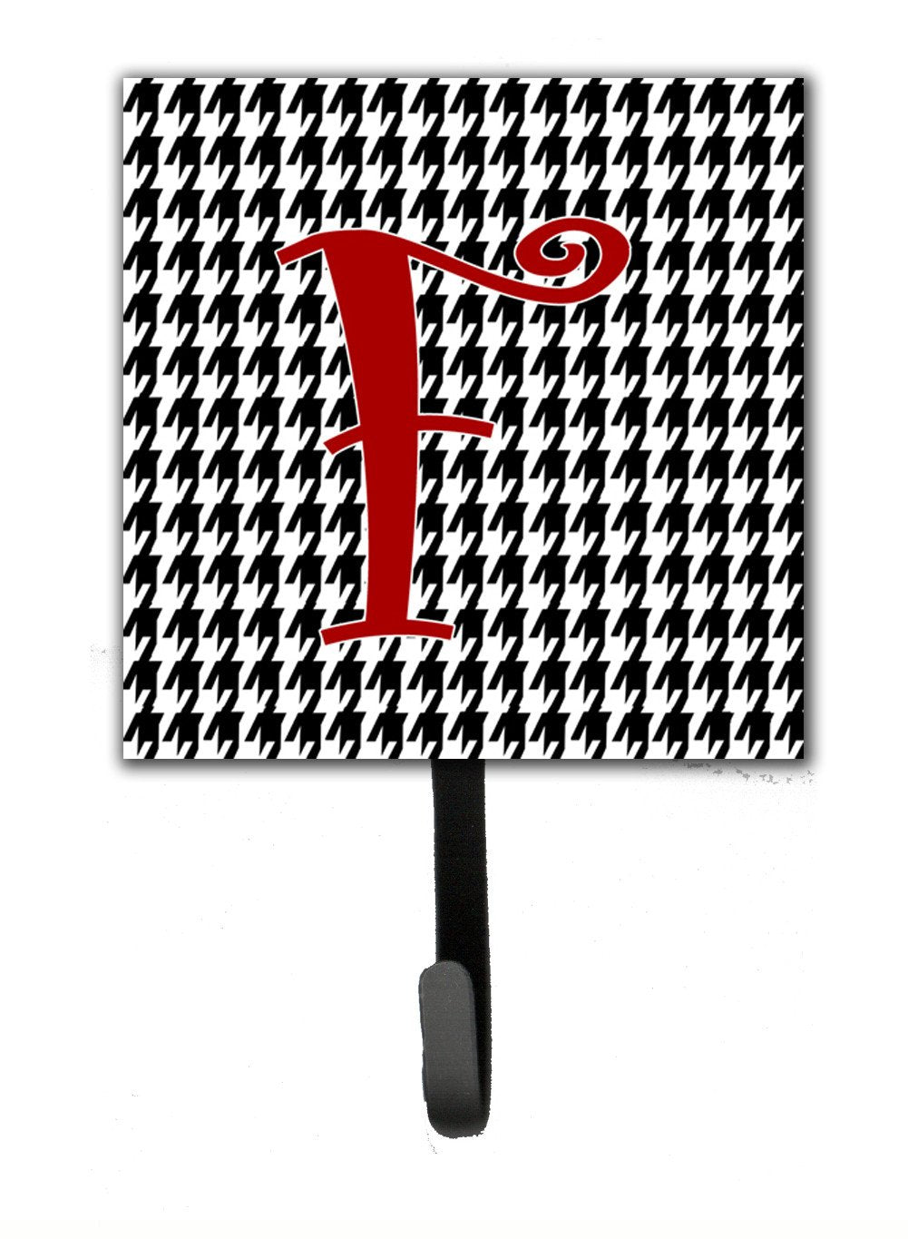 Buy this Letter F Initial Monogram - Houndstooth Black Leash Holder or Key Hook