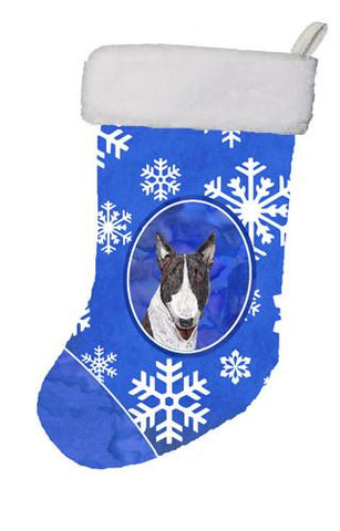 Buy this Bull Terrier Winter Snowflakes Christmas Stocking SC9603-CS