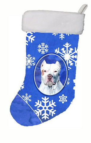 Buy this Pit Bull Winter Snowflakes Christmas Stocking SC9381