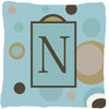 Monogram - Initial N Blue Dots Decorative   Canvas Fabric Pillow CJ1013 - the-store.com