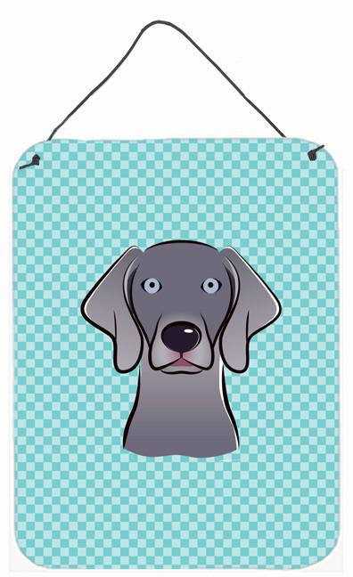 Buy this Checkerboard Blue Weimaraner Wall or Door Hanging Prints BB1169DS1216