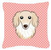 Checkerboard Pink Longhair Creme Dachshund Canvas Fabric Decorative Pillow BB1212PW1414 - the-store.com