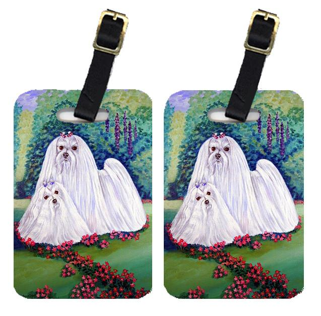 Pair of 2 Maltese and puppy Garden Beauties Luggage Tags by Caroline's Treasures