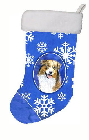 Buy this Australian Shepherd Winter Snowflakes Christmas Stocking SC9397
