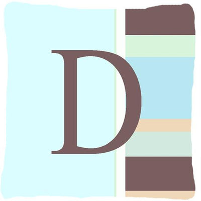 Buy this Letter D Initial Monogram - Blue Stripes Decorative   Canvas Fabric Pillow