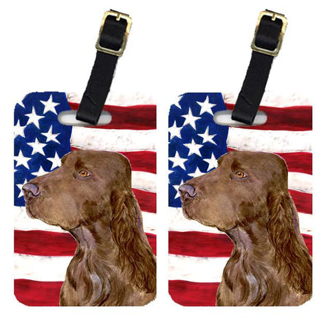 Buy this Pair of USA American Flag with Field Spaniel Luggage Tags SS4010BT