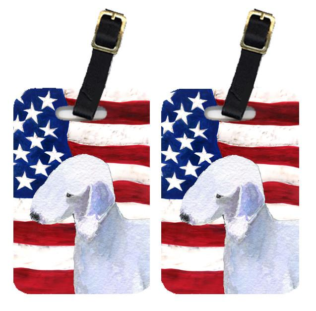 Buy this Pair of USA American Flag with Bedlington Terrier Luggage Tags SS4045BT