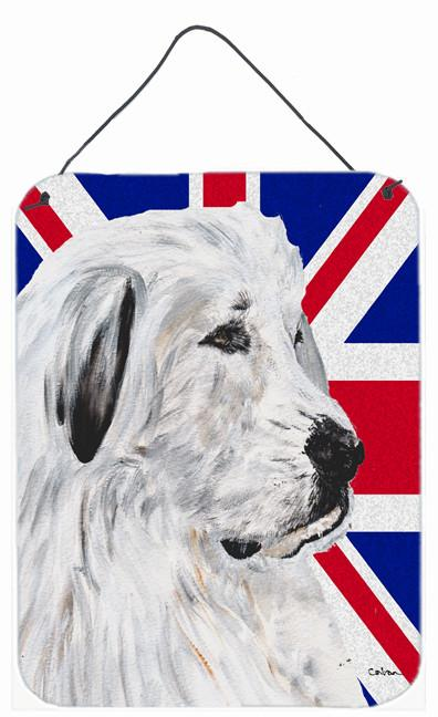 Great Pyrenees with English Union Jack British Flag Wall or Door Hanging Prints SC9873DS1216 by Caroline's Treasures