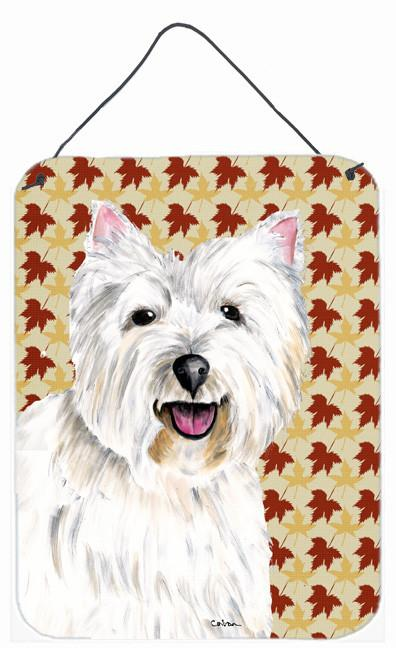 Westie Fall Leaves Portrait Aluminium Metal Wall or Door Hanging Prints by Caroline's Treasures