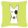 Checkerboard Lime Green Bull Terrier Canvas Fabric Decorative Pillow BB1271PW1414 - the-store.com