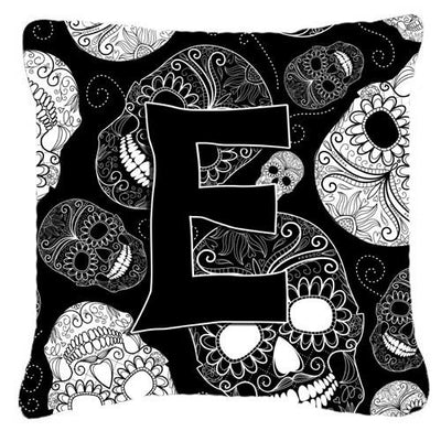Buy this Letter E Day of the Dead Skulls Black Canvas Fabric Decorative Pillow CJ2008-EPW1414