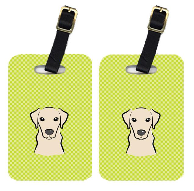 Pair of Checkerboard Lime Green Yellow Labrador Luggage Tags BB1284BT by Caroline's Treasures