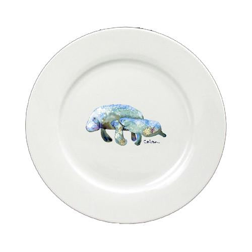 Manatee Momma and Baby Round Ceramic White Salad Plate 8660-DPW by Caroline's Treasures