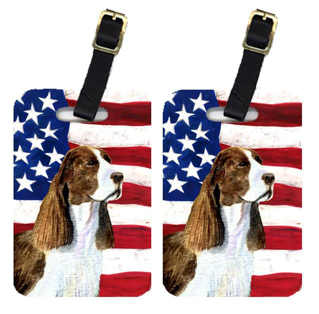 Buy this Pair of USA American Flag with Springer Spaniel Luggage Tags SS4040BT