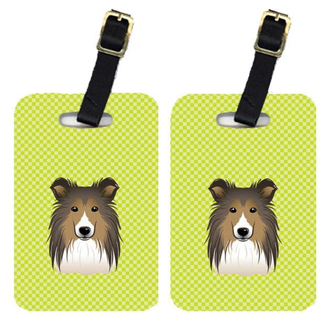 Buy this Pair of Checkerboard Lime Green Sheltie Luggage Tags BB1304BT