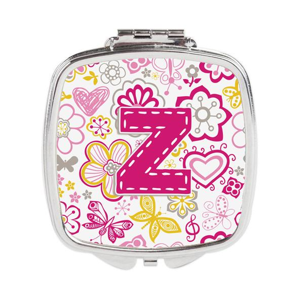 Buy this Letter Z Flowers and Butterflies Pink Compact Mirror CJ2005-ZSCM