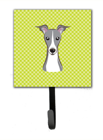 Buy this Checkerboard Lime Green Italian Greyhound Leash or Key Holder BB1298SH4