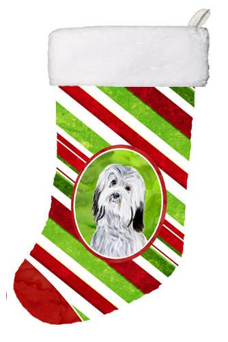 Havanese Candy Cane Christmas Christmas Stocking SC9809-CS by Caroline's Treasures
