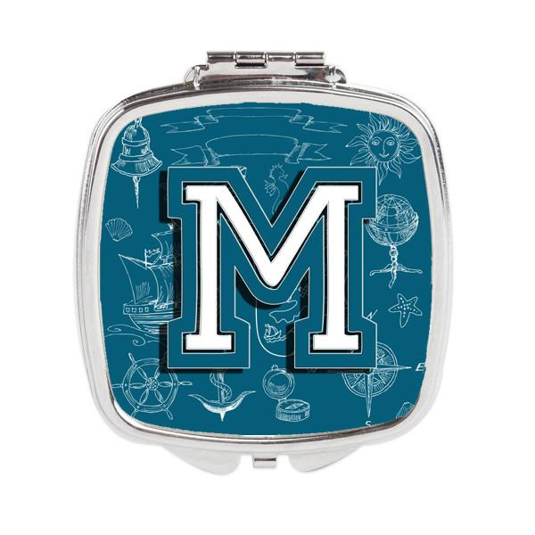 Letter M Sea Doodles Initial Alphabet Compact Mirror CJ2014-MSCM by Caroline's Treasures