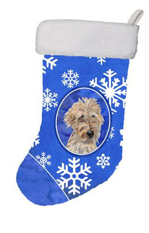 Buy this Golden Doodle Winter Snowflakes Christmas Stocking SC9605-CS