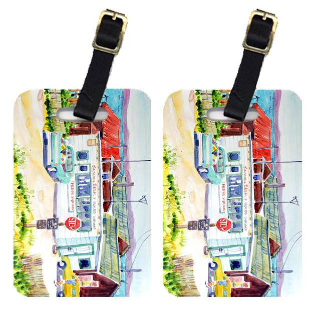 Pair of 2 Seafood Shack for fresh shrimp Luggage Tags by Caroline's Treasures