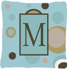 Buy this Monogram - Initial M Blue Dots Decorative   Canvas Fabric Pillow CJ1013