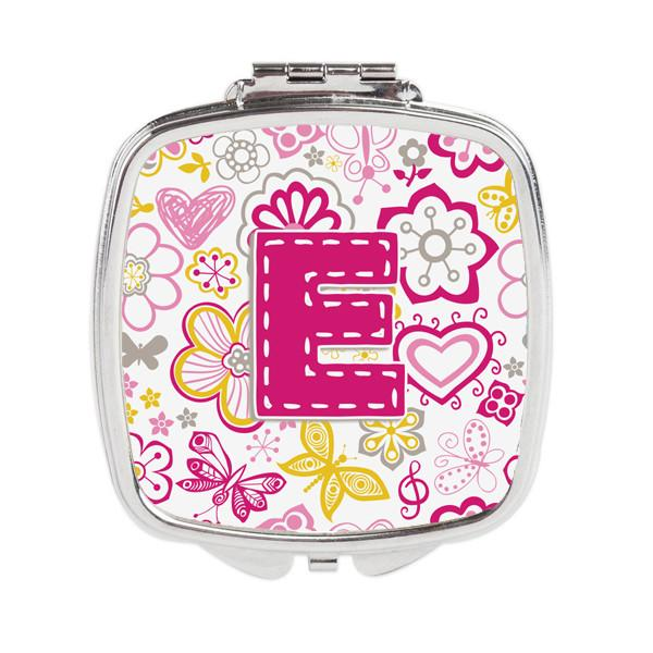 Letter E Flowers and Butterflies Pink Compact Mirror CJ2005-ESCM by Caroline's Treasures