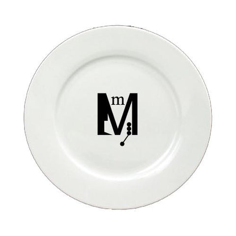 Buy this Letter M Initial Monogram Modern Round Ceramic White Salad Plate CJ1056-M-DPW
