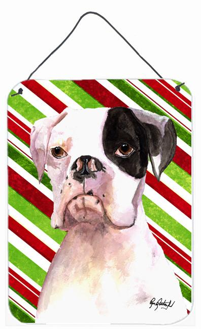Buy this Cooper Candy Stripe Boxer Christmas Aluminium Metal Wall or Door Hanging Prints